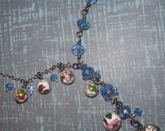 Adjustable Cloisonne and blue crystal eclectic necklace with locket