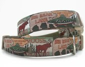 Dog Collar, Cabin Style, 1 inch wide, adjustable, quick release buckle. FREE Engraved Tag.
