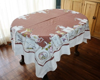 Vintage Tablecloth Chocolate Brown White Kitchen Utensils 54 x 70