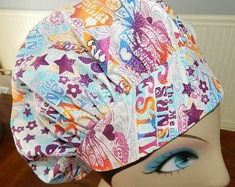 Happy Hippie  Banded Bouffant Surgical Cap by Nurseheadwear Bakers Cap