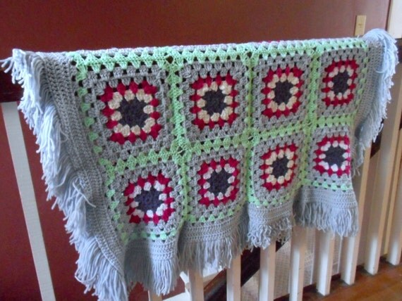 Homespun Crochet Rustic Granny Square Hand Crocheted Whimsical Beach Cottage Lake House Country Home Lap Blanket Throw Afghan Primitive ooak