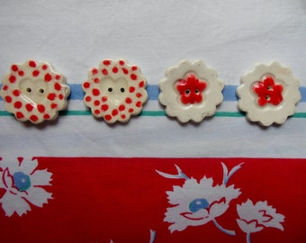 Porcelain Buttons * Handmade Red and White Buttons * Crafts * Heart Buttons * Flower Buttons