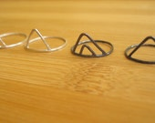 Silver Triangle Ring Single or Double