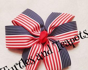 American Flag Patriotic Hair Bow