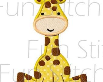 Cute giraffe applique machine embroidery design pattern