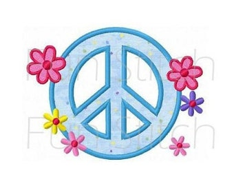 Peace sign flowers applique machine embroidery design