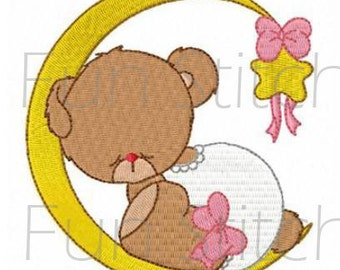 Girl bear in the sky machine embroidery design set of 10 blocks