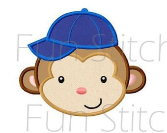 Baseball monkey applique machine embroidery design