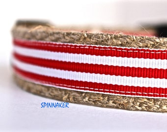 Red Stripe Dog Collar, Red and White Collar, Ribbon Dog Collar, Adjustable Dog Collar, Striped Dog Collar, Holiday Dog Collar