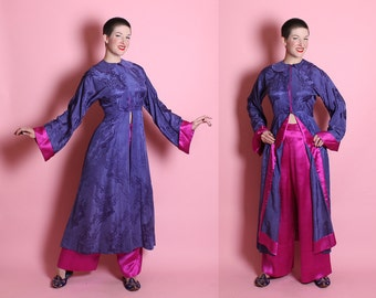 RARE 1930's Chinese Pure Silk 2 Piece Lounging Boudoir Pajamas in Violet Purple / Schiaparelli Pink - Hourglass Jacket & Wide Leg Pants - ML
