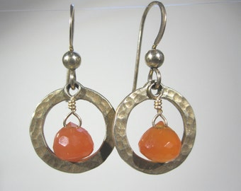 Vermeil Hammered Circles with Carnelian Onion-Cut Drops, and Gold-Filled Earwires.