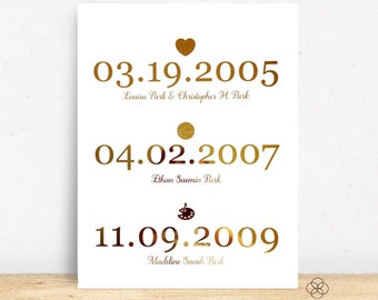 Gold Foil Important Dates Wall Print - Personalized Print - 8x10 - Typography Print