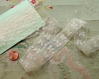 1 yard antique cherry pattern cherries 1920s 1910s lace cotton flapper edwardian lingerie trim doll dress