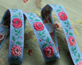 1 yard vintage French trapunto ribbon embroidered ribbon millinery trim blue pink roses wool floss cotton art nouveau flapper