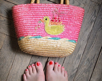 SALE - PInk Embroidered Straw Summer beach Bag - Sweet 1970ies MOD yellow Purse with Duck