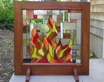 """Geometric Mission Fireplace Screen with Wooden Frame 31"""" wide x 31"""" tall"""