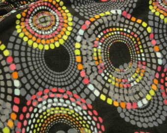 Dots in Circles on Black with Pink Fleece Blanket - Ready to Ship Now