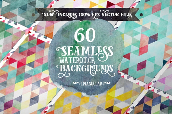 Digital paper Seamless Backgrounds - 60 Watercolor Triangles - Now with EPS Vector Files included