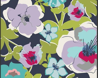Navy Blue Green Purple and Pink Floral Voile, By Art Gallery Fabrics Designers, Fashionable in Azure, 1 Yard Voile