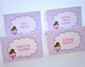Gymnastics Food Labels Cards - Buffet Labels, Placecards - Gymnastics, Tumbling Theme Birthday Party Decorations - Set of 12