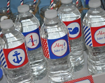 Nautical 1st Birthday Water Bottle Labels - Boys 1st Birthday Decorations - Personalized Drink Labels - Whales and Anchors - Set of 10