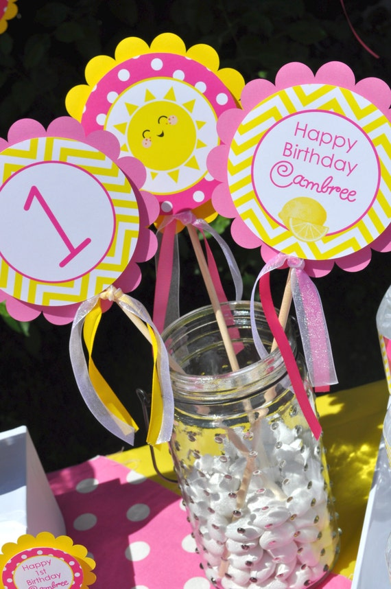 Lemonade and sunshine centerpiece sticks by sosweetpartyshop