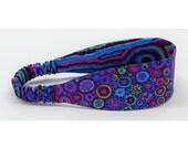 Reversible Fabric Headband - Kaffe Fassett fabrics - Purple, Red, Blue, Pink, Green - Women, Teens, Adults