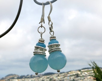 Blue Jade & Crystal Earrings