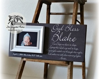Baptism Gift, Christening Gift, Gift for Godchild, Godson, Goddaughter, Gift from Godparents, Now I Lay, 8x20 The Sugared Plums Frames