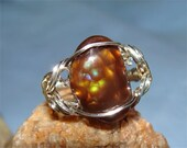 Rare FIRE AGATE Ring Size 8 in Sterling SILVER Handmade