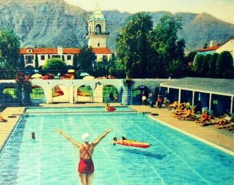 Swimming Pool Art, Mid Century Modern Art, Art Photograph, Vintage California Art Gift MCM Art, Wife Gift, Pool Art, Vintage Beach Art