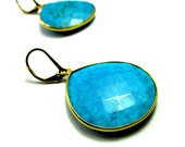 Faceted Turquoise Encased in 14k Gold Filled Wire ~ Large Artisan Earrings, Tear Dropped, Faceted, Semi Precious Stone