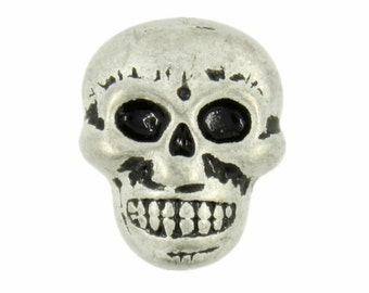 Skull Metal Shank Buttons in Retro Silver Color  - 0.71mm - 6 pcs