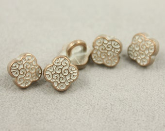 Metal Buttons - Scrollwork Flower Copper White Metal Shank Buttons - 6mm - 0.24 inch - 10 pcs