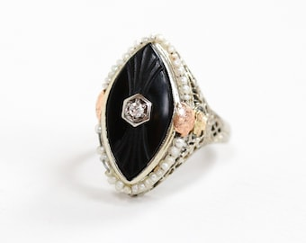 Sale - Antique Art Deco 14K White Rose & Yellow Gold Black Onyx Diamond Ring - Vintage 1920s Size 5 Flower Filigree Seed Pearl Fine Jewelry