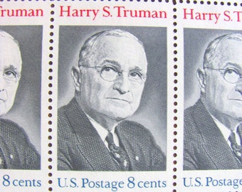 President Harry S. Truman Full Sheet of 32 Vintage UNUsed US Postage Stamps 8c 1973 Save the Date Wedding Postage Black White Philately
