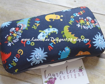Monsters Boutique Style Travel Baby Wipe Case Boy Print