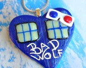 Bad Wolf Heart Necklace- Tardis Inspired Heart Pendant