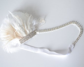 READY TO SHIP Bridal 1920s Peacock Feather headband,Bridal rhinestone headband,art deco headband,Gatsby headband,White feather Peacock