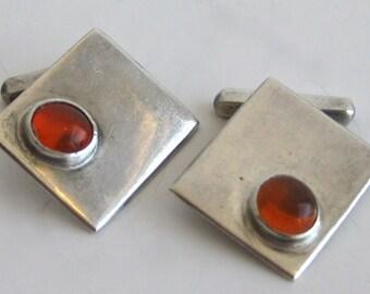 Vintage Sterling Silver & Amber Large Mid Century Modernist Cufflinks