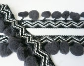 Zigzag Black Dark Gray Pom Pom Fringe Dangling Trim Braid Ruffle Puff Bobble Ball Sewing Tape DIY Craft 1 Yard