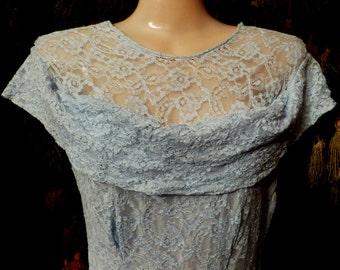 Fabulous 40s Long Baby Blue Lace Gown