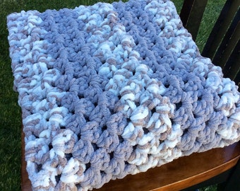Crocheted Granny Stitch Earthtone Soft Baby or Lap Quilt