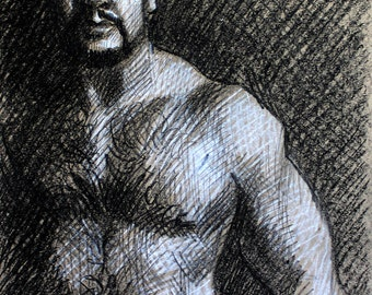 Big Old Bear, black and white crayon on tan heavy paper 11x14 inches by Kenney Mencher (gay art)