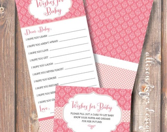 Printable Baby Shower Game - Pretty in Pink Wishes for Baby - INSTANT DOWLOAD