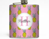 Personalized Pineapple Flask Monogram Initials Beach Custom 21st Birthday Women Gifts - Stainless Steel 6 oz Liquor Hip Flask LC-1544
