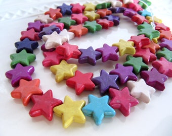 15mm Ceramic Star Beads in an Antiqued Color Mix, 14mm to 15mm, 1 Strand 15 Inches, 32pcs, Red, Green, Purple, Yellow, Pink, Orange