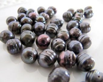 8mm Freshwater PEARLS in Bronze Eggplant Purple, Approx 8mm x 9mm, 50 Beads, Potato Rice Shape