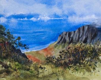 Kalalau Lookout, Kauai, Napali Coast, Watercolor Print, Seascape, Hawaiian Islands, Ocean, Clouds
