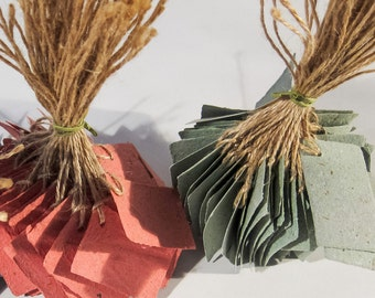 Red + Green handmade paper tags - discounted & ready to ship!